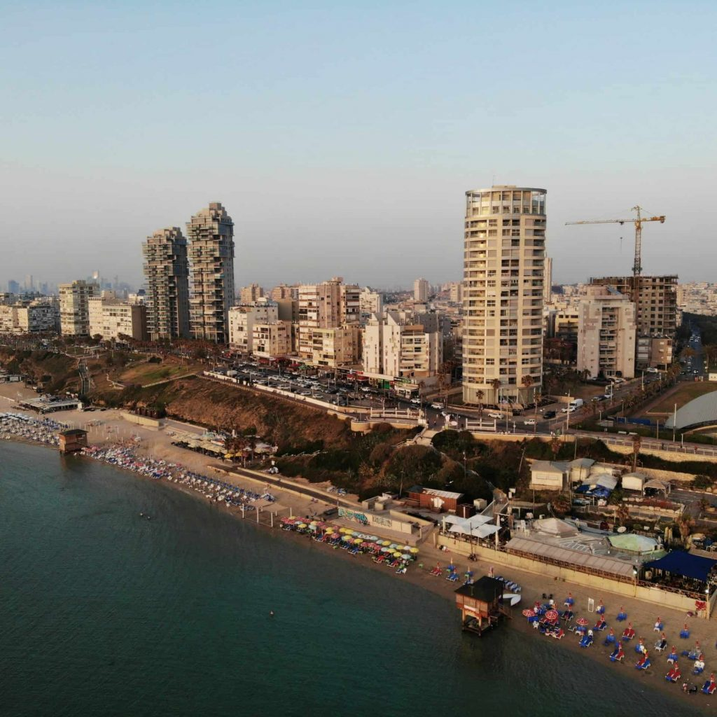 Aerial view in Israel. Tel Aviv, Bat Yam area. Created by drone from amazing point of view. Different angle for your eyes. Middle East, Holyland.